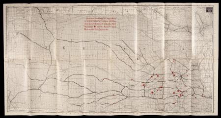 CB&Q map showing Dunker, Amish, and Mennonite settlements in Nebraska, (c. 1900)