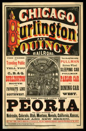 Advertisement poster for CB&Q Railroad