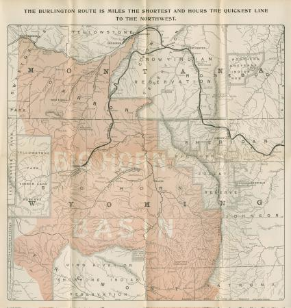 Map of Big Horn Basin, Wyoming. CB&Q, Brochures