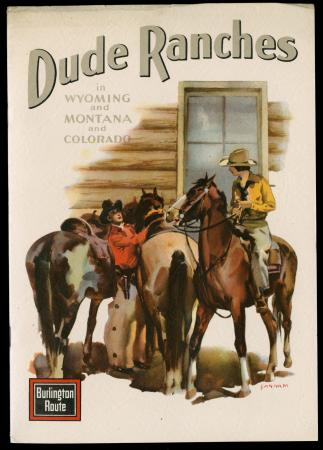 Brochure cover showing dudette on horse talking to a cowboy