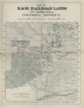 Map of B.&M.Railroad Lands in Nebraska, Columbus District.