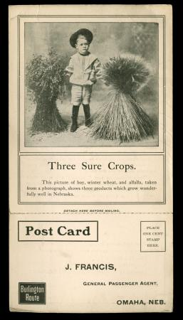 "Image of postcard advertisement ""Three Sure Crops"" (1900)"