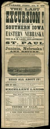 "Advertisement Poster named ""Last Excursion through Southern Iowa"""