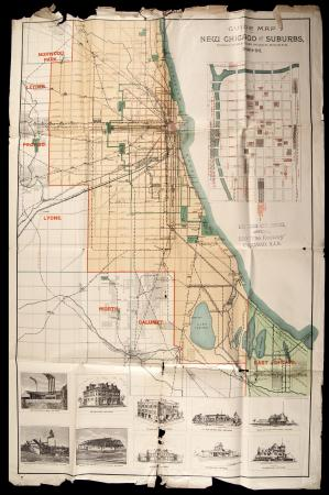 """Guide Map of New Chicago & Suburbs""  (1889)"