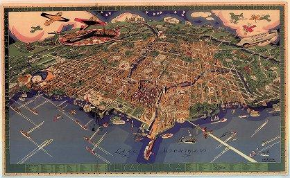 1931 Map of Chicago showing airplanes, boats and railroads around the city