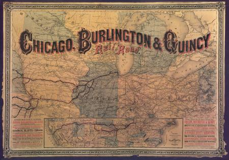 Map of Chicago, Burlington & Quincy Rail Road (circa 1880)