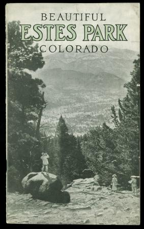 "Book cover ""Beautiful Estes Park, Colorado"" - a man is overlooking a valley"