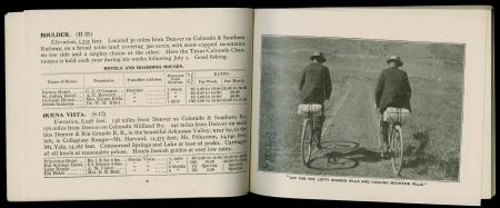 Advertisement showing two men on bicycles in Handbook of Colorado