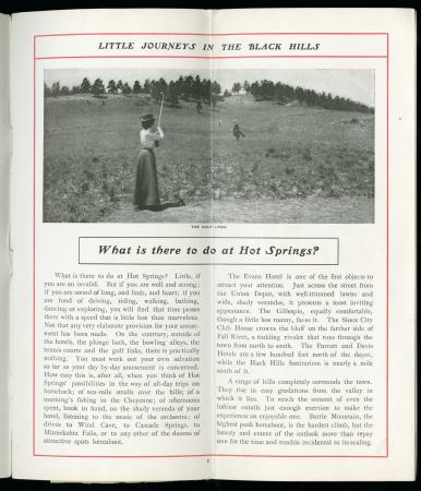 "Image of Woman playing golf in book ""Little Journeys in the Black Hills"""