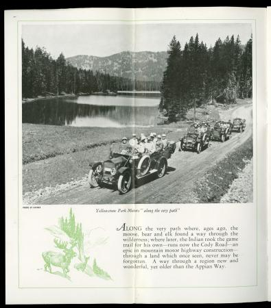 Image of Cody Road to Yellowstone Park with cars in 1920s