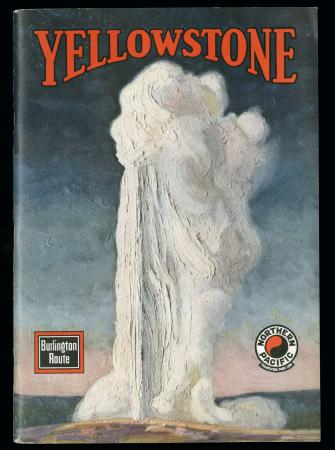 "Cover of brochure ""Yellowstone"" depicting a geyser (1936)"