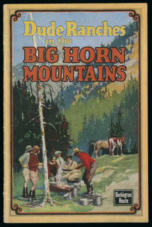 "Brochure cover ""Dude Ranches in the Big Horn Mountains""  (1925)"