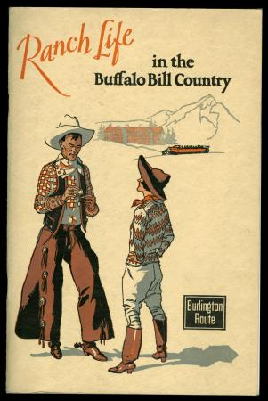 "Brochure cover ""Ranch Life in the Buffalo Bill Country"" with dudette and cowboy"