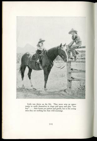 "Image with two kids and a horse from ""Dude ranches in Big Horn Mountains"", 1930"
