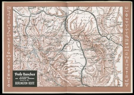 Map showing the dude ranches served by the Burlington Route