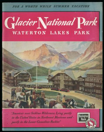 "Brochure of ""Glacier National Park"" showing horse riders in resort town"