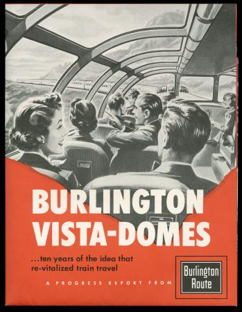 "Cover of brochure: ""Burlington Vista-Domes"" - a view from inside the vista dome"