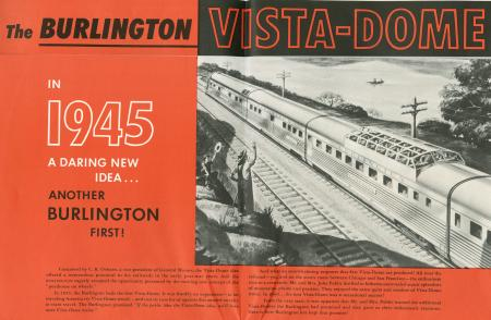 "Brochure cover ""The Burlington Vista-Dome in 1945"""
