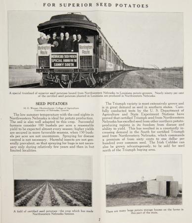 "Advertisement for seed potato train in ""Northwestern Nebraska"" (1926)"