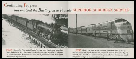 "Cover image of 1953 ""Progress report on your suburban service"" showing railroads"