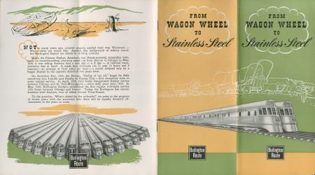 """CB&Q Brochure cover """"From Wagon Wheel to Stainless Steel"""" (1945)"""
