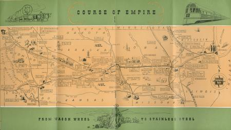 """Brochure cover """"Course of Empire -- From Wagon Wheel to Stainless Steel"""""""
