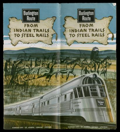 """CB&Q Brochure cover """"From Indian Trails to Steel Rails"""" (1945)"""