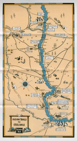 """Map """"Indian Trails to Steel Rails"""" (1945)"""