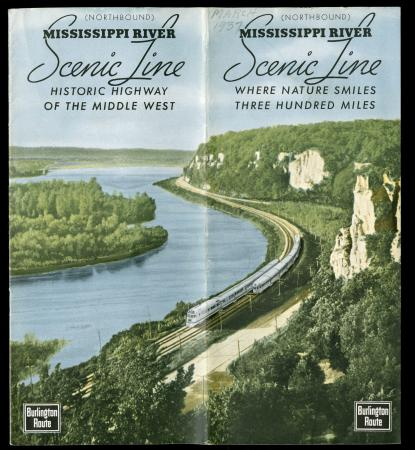 CB&Q Brochure cover of Mississippi River Scenic Line (1937)