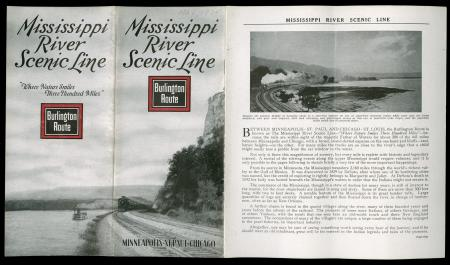 CB&Q Brochure cover of Mississippi River Scenic Line (1937)