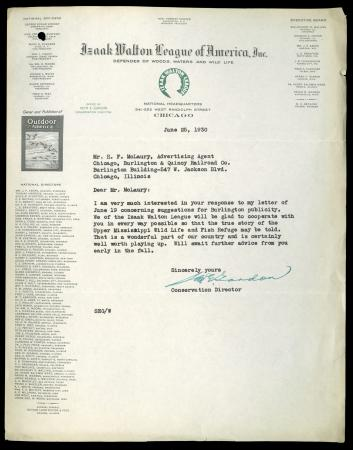 Letter from IWL Conservation Director Gordon to Advertising Agent McLaury