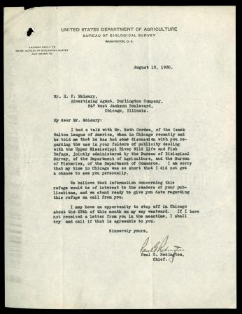 Letter from Paul G. Redington to H. F. McLaury, August 13 (1930)
