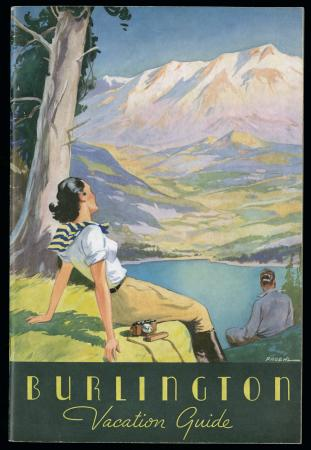 "Brochure cover ""Burlington Vacation Guide"" showing woman overlooking a valley"