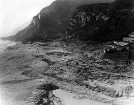 View of Longarone after the wave from the Vajont Dam (1963)