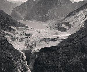 View of the Vajont reservoir after the landslide (1963)