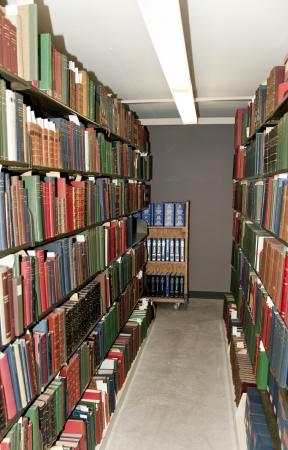 Photo of an isle of the CB&Q archive at the Newberry Library