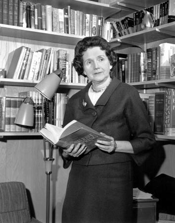 Rachel Carson holding her book Silent Spring