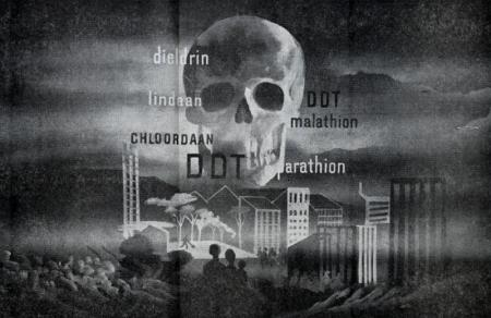 Illustration depicting a scull above an industrial area