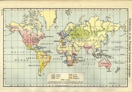 Shepherd's map of the worldwide distribution of European languages in 1911
