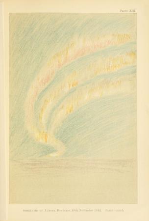 """Drawing of an aurora in Fridtjof Nansen's """"Farthest North"""" (1897)"""