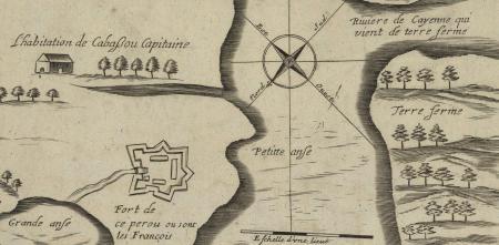 """Detail of Jacques Lagniet's """"Carte de l'Isle Cayenne,"""" 1665"""