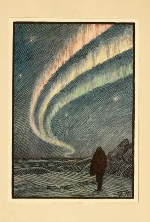 Drawing of an aurora in Fridtjof Nansen's <i>In Northern Mists</i> (1911)