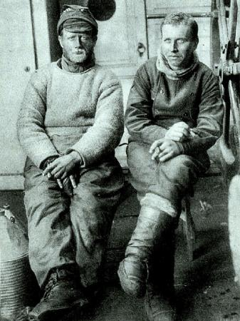 Alfred Wegener (to the right) and Gustav Thostrup (1877–1955), second officer of the <i>Danmark</i>