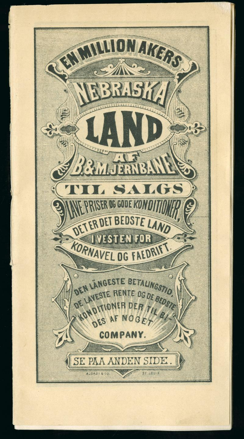 1872 Historic Advertising Print Land For Sale in Iowa /& Nebraska